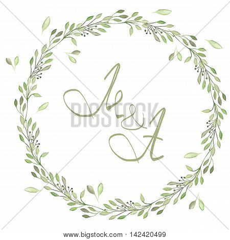 Circle frame, wreath of tender branches with green leaves painted in watercolor on a white background, greeting card, decoration postcard or invitation