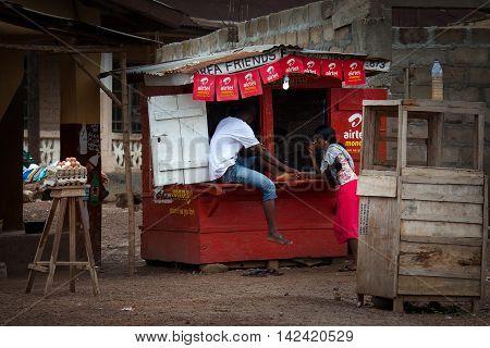 Makeni Sierra Leone Africa - June 06 2013: Makeni Bombali District North of Sierra Leone small shop