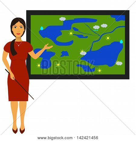 Vector illustration with the image of a TV weather reporter at work