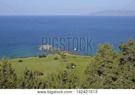 Small Islands near Ttakkas Bay Viewed from Adonis Trail North Coast of Akamas Peninsula Cyprus