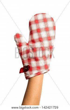 Oven protective mitten with woman hand isolated on white background poster