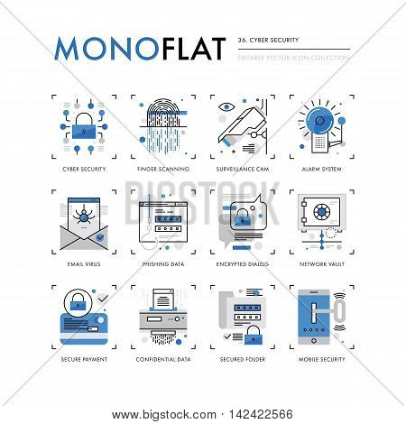 Infographics icons collection of cyber security internet information encryption network vault. Modern thin line icons set. Premium quality vector illustration concept. Flat design web graphics elements.