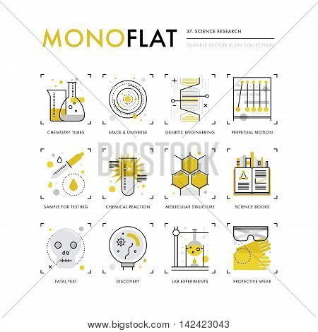 Infographics icons collection of scientific method genetic engineering chemistry lab tubes. Modern thin line icons set. Premium quality vector illustration concept. Flat design web graphics elements.