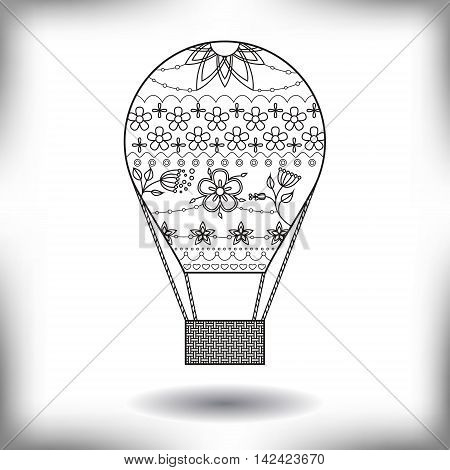 Vector air ballon painted silhouette isolated on white
