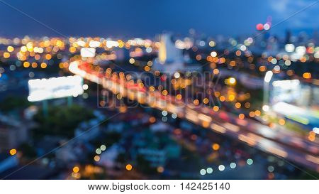 Blurred lights urban city and highway abstract background