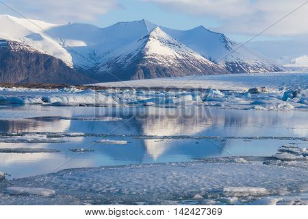 Frozen lake Jokulsarlon Glacial during late winter, Iceland natural landscape