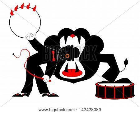 Deadly trick. A tamer is getting his head into a of the jaw lion.