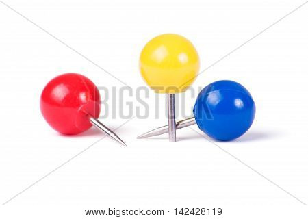 Drawing pins ball in different colors isolated on white background