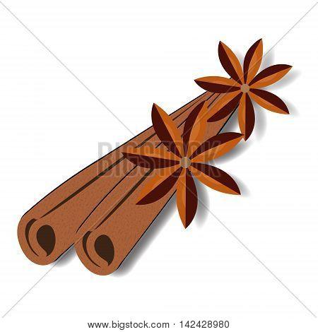 Cinnamon sticks and flower. Cinnamon spice. Vector illustration