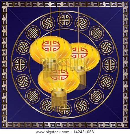 Yellow lanterns and golden pattern on blue background