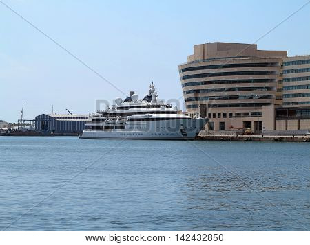 Barcelona Spain 05 july 2016:: Luxury large super yacht in the port