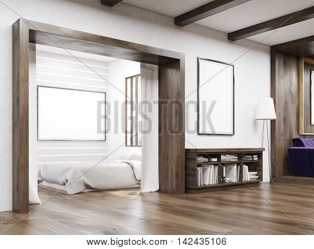 Bedroom And Living Room With Sofa