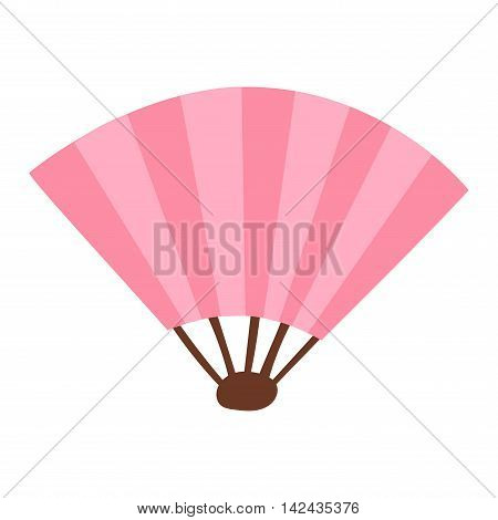 Pink silk chinese fan traditional asian oriental culture paper accessory vector illustration. Traditional chinese or japan fan and oriental chinese fan. Chinese paper elegance fan fashion accessory.