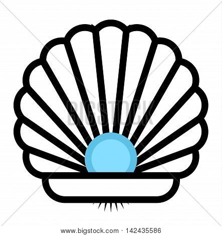 Sea shell outline flat sea clams vector illustration. Snail aquarium underwater shape cartoon clams. Coral marine cartoon clams cute tropical graphic art. Marine water ocean seashell