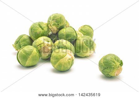 fresh brussel baby cabbage isolated on white