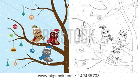 Owls in a tree, coloring book page. Vector illustration