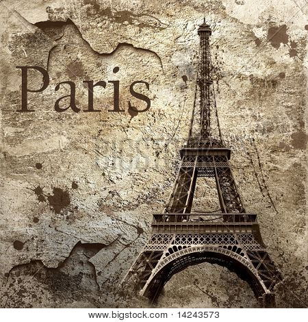Alte Ansicht von Paris auf dem Grunge hintergrund