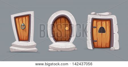 vector Illustration set of cartoon medieval entrance doors from wood. Pictures for 2D game design. Various forms. Isolate on dark background