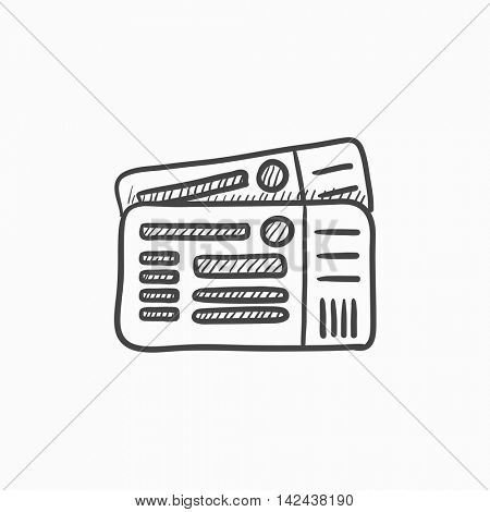 Tickets vector sketch icon isolated on background. Hand drawn Tickets icon. Tickets sketch icon for infographic, website or app.