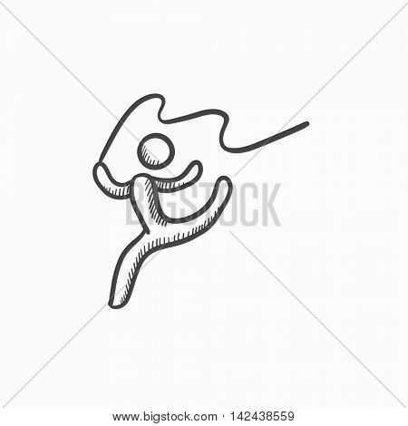 Gymnast with tape vector sketch icon isolated on background. Hand drawn Gymnast with tape icon. Gymnast with tape sketch icon for infographic, website or app.
