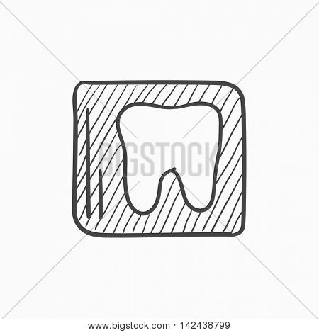 X-ray of toot vector sketch icon isolated on background. Hand drawn X-ray of toot icon. X-ray of toot sketch icon for infographic, website or app.
