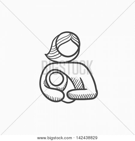 Woman holding baby vector sketch icon isolated on background. Hand drawn Woman holding baby icon. Woman holding baby sketch icon for infographic, website or app.