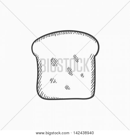 Single slice of bread vector sketch icon isolated on background. Hand drawn Single slice of bread icon. Single slice of bread sketch icon for infographic, website or app.