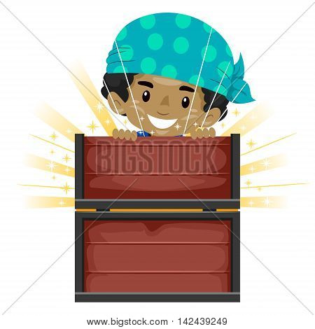 Vector Illustration of Kid opening Treasure Chest