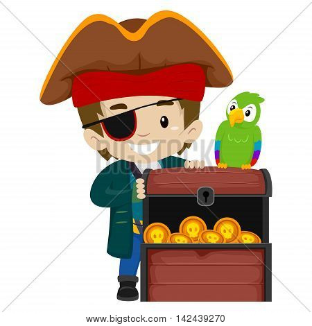 Vector Illustration of Pirate Kid and Parrot with Treasure Chest