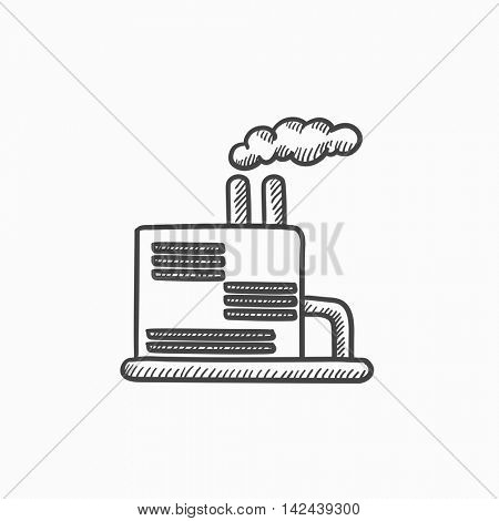 Refinery plant vector sketch icon isolated on background. Hand drawn Refinery plant icon. Refinery plant sketch icon for infographic, website or app.