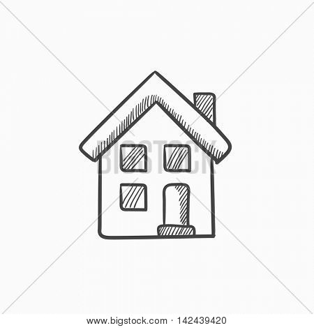 Two storey detached house vector sketch icon isolated on background. Hand drawn Two storey detached house icon. Two storey detached house sketch icon for infographic, website or app. poster