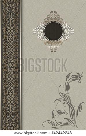 Vintage background with decorative borderframe and elegant flower.
