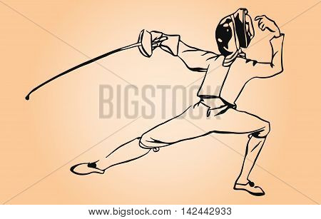 Athlete sketch fencer in attack position on a light background