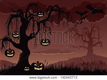Halloween background with scary pumpkins hanging from a creepy tree.