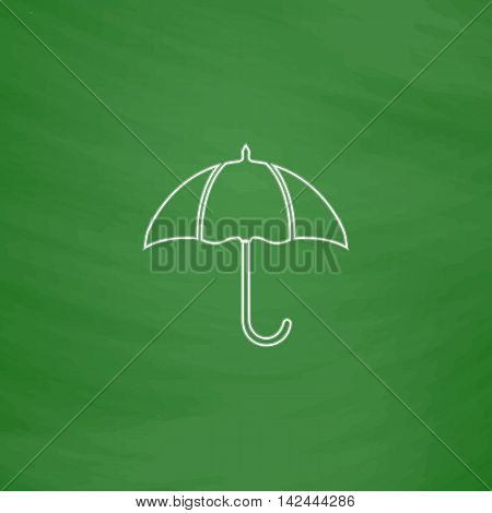 Umbrella Outline vector icon. Imitation draw with white chalk on green chalkboard. Flat Pictogram and School board background. Illustration symbol