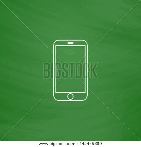 mini tablet Outline vector icon. Imitation draw with white chalk on green chalkboard. Flat Pictogram and School board background. Illustration symbol