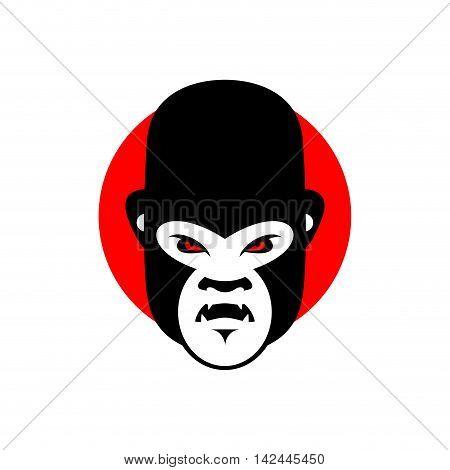 Gorilla Mascot. Head Of Wild Animal. Aggressive Monkey. Logo For Sports Team. Angry Beast