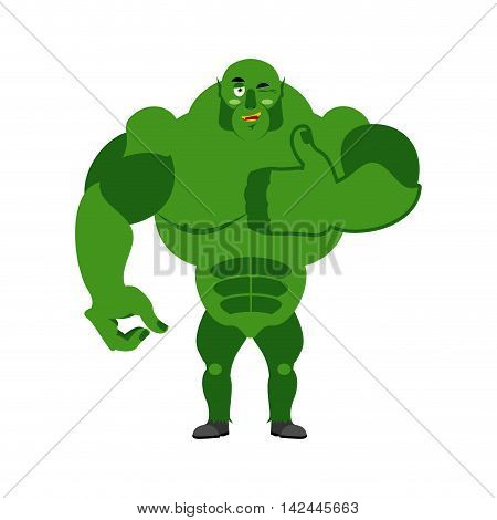 Ogre Thumbs Up Showing Well. Sign All Right. Jolly Green Monster. Hand Showing Ok. Gesture Of Hand T