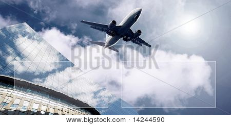 Airplane on  the blue sky poster