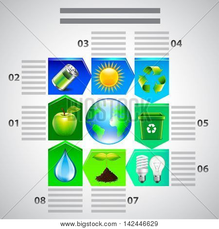 Environment inforgaphics. Ecology objects in arrows around earth globe vector template