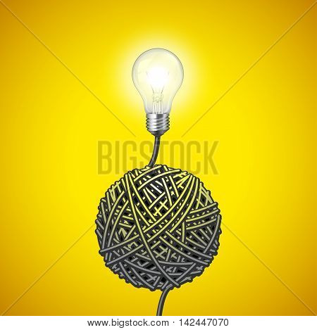 Light bulb and tangled wire on yellow vector background