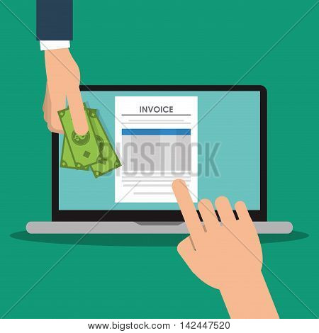 laptop bills document payment financial item icon. Invoice design, vector illustration