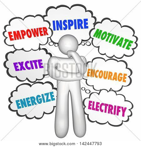 Empower Inspire Motivate Thinking Person Thought Clouds 3d Illustration