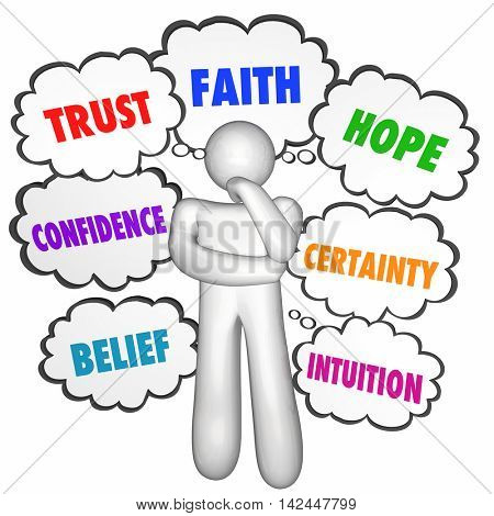 Trust Faith Hope Confidence Thinking Person Thought Clouds 3d Illustration
