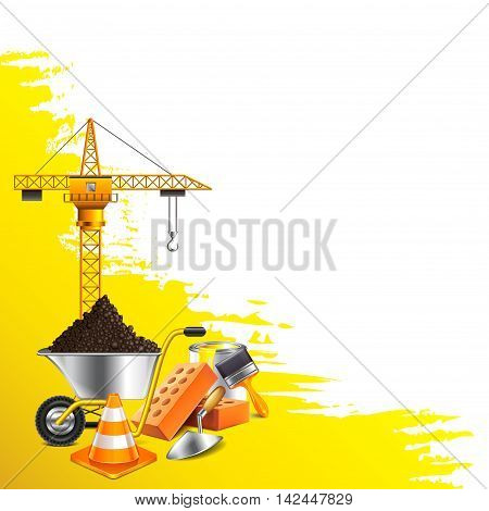 Yellow grunge background and construction objects vector background