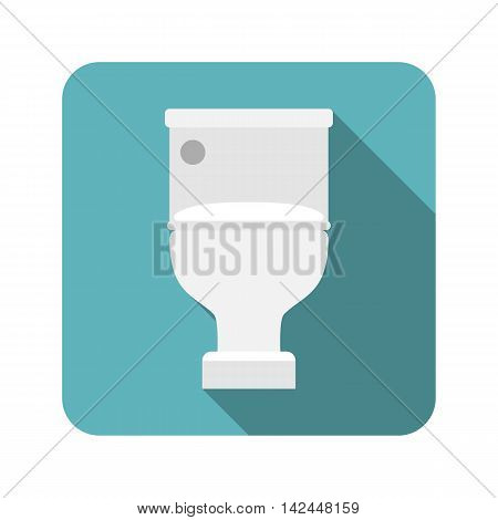 Vector closed toilet seat, flat design with long shadow