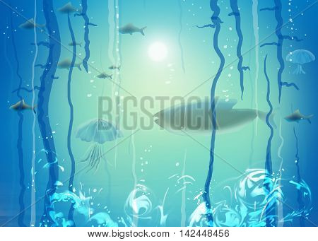 Under the sea. Sea life, sea diving, sea fish. Under water scene abstract illustration. Sea landscape. Ocean. Under ocean abstract underwater background. Sea tropical. Sea Art. Under sea watercolor.