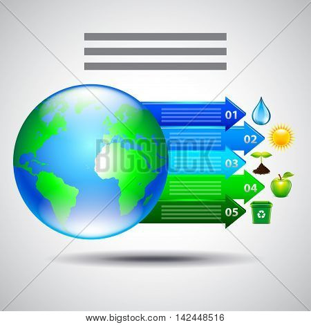 Environment inforgaphics. Earth and arrows with ecology icons vector template