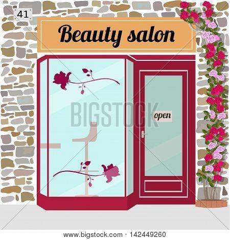 Beauty salon building facade. Vector illustration EPS 10.