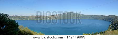 The volcanic lake of Castel Gandolfo in the Castelli Romani in Lazio